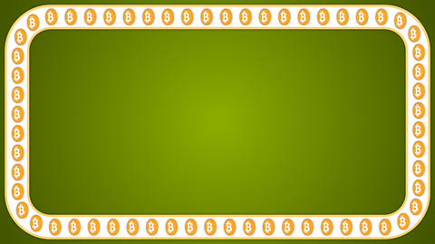 Bitcoin cryptocurrency green background rectangle border frame banner 애니메이션