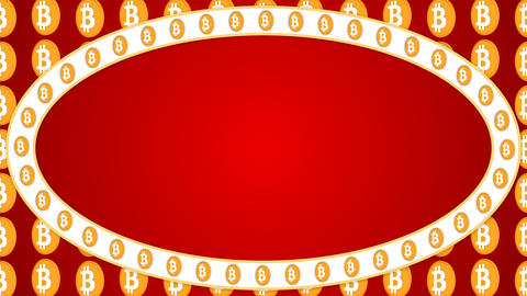 Bitcoin cryptocurrency red background ellipse border frame banner Animación