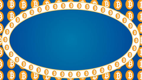 Bitcoin cryptocurrency blue background ellipse border frame banner Animation
