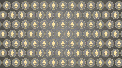 Ethereum cryptocurrency grey background coins pattern traffic horisontal Animación