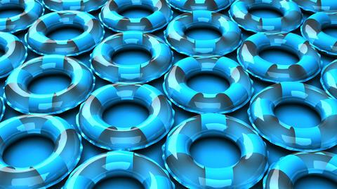 Blue swim rings on blue background CG動画