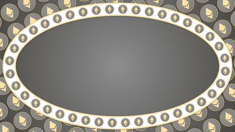 Ethereum cryptocurrency grey background ellipse border frame banner Animation