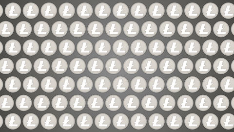 Litecoin cryptocurrency background coins traffic horisontal pattern Animación