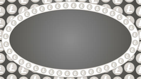Litecoin cryptocurrency background ellipse border frame Animation