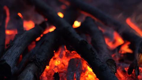 camping bonfire at dusk Footage