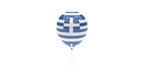 Greece Balloon Rotating Flag Animation - Alpha Channel - Transparent Animation