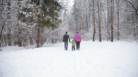 happy young family playing in fresh snow at beautiful sunny winter day outdoor i Footage