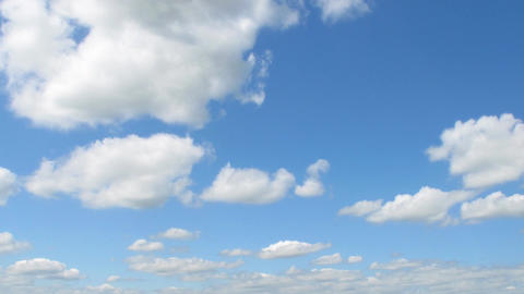 White clouds motion in blue sky time lapse Footage