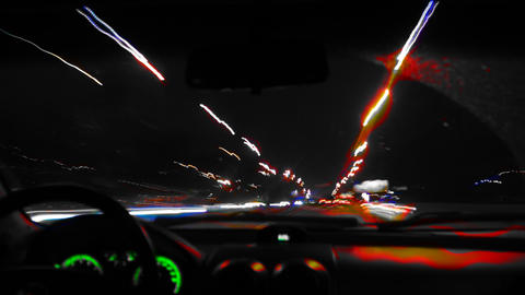 Driving at night_color_mix Footage