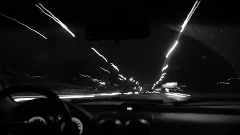 Driving at night_black & white_left 2 right moving Footage