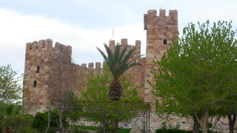 Timelapse of Candarli Castle, Izmir, Turkey, zoom out Footage