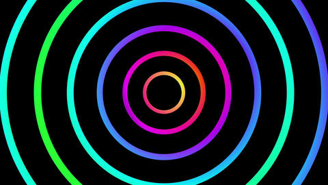 Loopable spinning glowing graduated color circles Footage