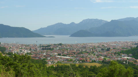 Timelapse of Summer Travel Destination, Center Marmaris, Turkey, zoom out Footage