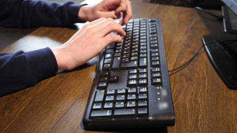 Man Arms Typing On Keyboard Footage