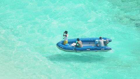 Inflatable motorboat approaches the beach Similan Islands Footage