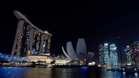 Singapore Timelapse Big City at Night - MBS - 4k 4096x2304 Footage