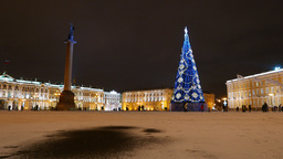 Palace Square at winter night, Alexander Column, illuminated New Year fir tree Footage