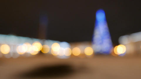 Night Palace Square panorama at New Year time, change focus to blurred Footage
