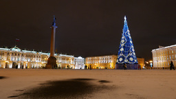 Palace Square at winter night, bright buildings illumination, new year time Footage