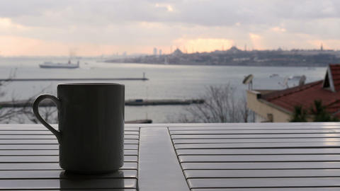 Slider, dolly coffee cup, background sultanahmet istanbul turkey Footage