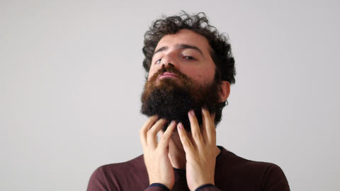 Before And After, Facial Hair Cut, Funny Man Face stock footage
