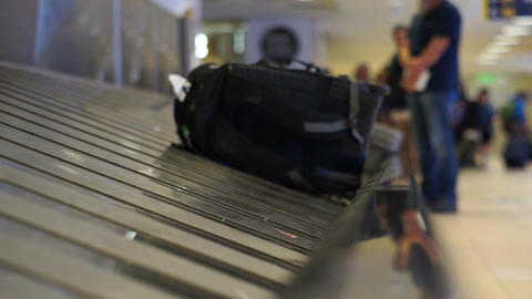 Airport Baggage Carousel with a Backpack Footage