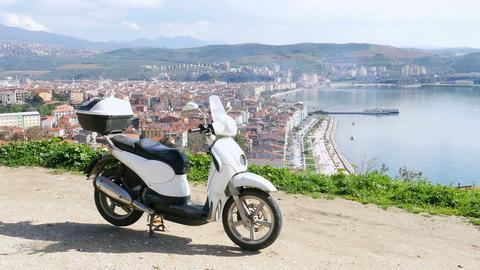 Motorbike rider at Gemlik, Bursa, Turkey, High angle Footage