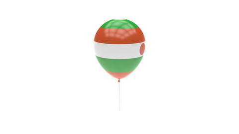 Niger Balloon Rotating Flag Animation - Alpha Channel - Transparent Animation