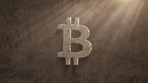 rusting over time bitcoin on a grunge background Animation