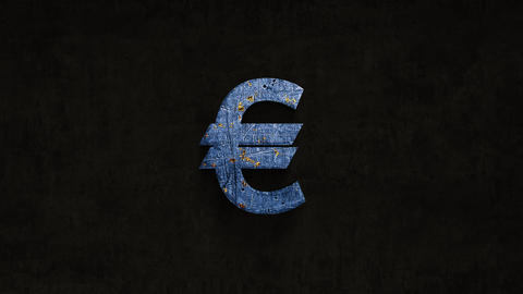 rusting over time euro sign on a grunge background Animation
