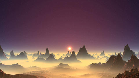 Beautiful Sunset on an Alien Planet Animation