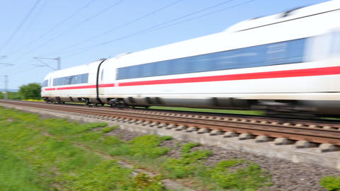 ICE train on highspeed railroad line Live Action