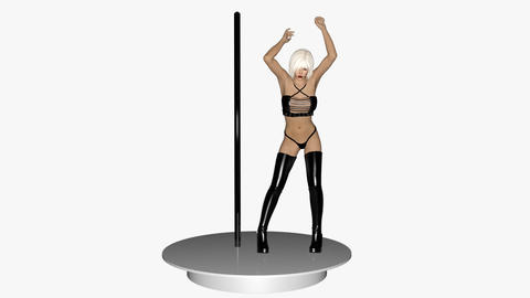The Girl Is Dancing Openly At The Pole, Loop, Animation, Transparent Background GIF