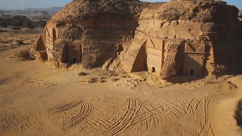 """the historical complex """"Mada'in Saleh"""" (Nabataean kingdom) is located in the 영상물"""