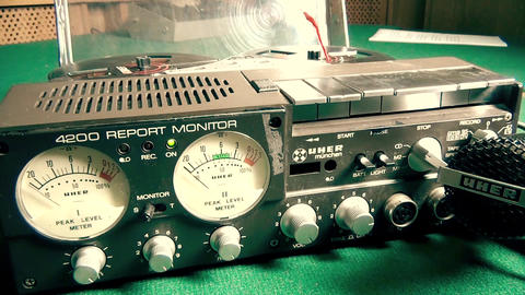 Old Retro Audio Recorder with microphone Live Action