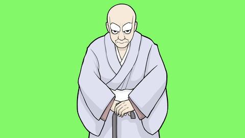 手描きの老人GB CG動画素材