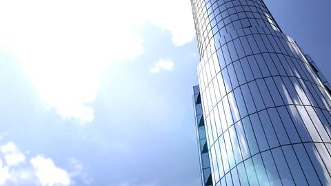Business buildings skyscrapers with blue sky. 3D rendering フォト
