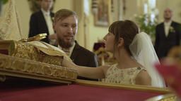The young couple gives vows before God Footage