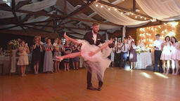 Lvov, Ukraine, August 5, 2017 First wedding dance at the wedding party Footage