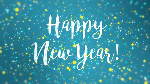 Sparkly blue yellow Happy New Year greeting card video Animation