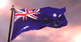 Flag of Australia waving at wind at sunset, loop Animation
