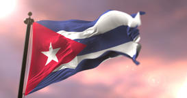 Cuba flag waving at wind in slow at sunset, loop Animation
