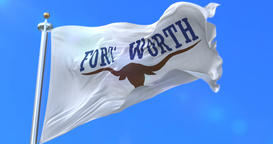 Flag of Fort Worth, city of Texas in United States of America - loop Animation