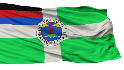 Isolated Borkum city flag, Germany Animation