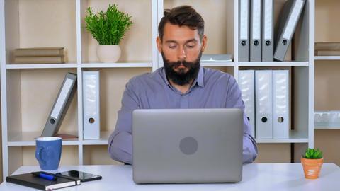 bearded businessman rejoice winning Footage