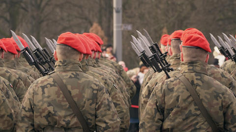 A lot of soldiers in red berets and green uniform stand with their backs to the Footage