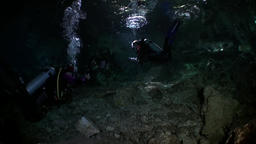 Rocks and stones of Yucatan cenotes underwater in Mexico Footage