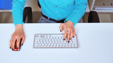 close up female hands use mouse pc and keyboard Footage