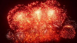 Firework display at night on black background Footage