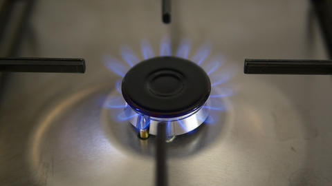 Ignition - Lighting a gas hob on an stove or oven. Turn on and off burning gas Footage